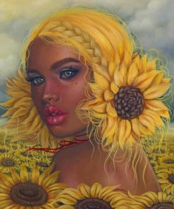 Sunflowers Girl paint by numbers