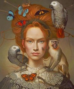 Surrealism Girl With Animals paint by numbers