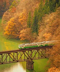 Train In Girder Bridge paint by numbers
