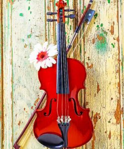 Violin With Daisy Flower paint by numbers