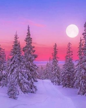 Winter Landscape paint by numbers