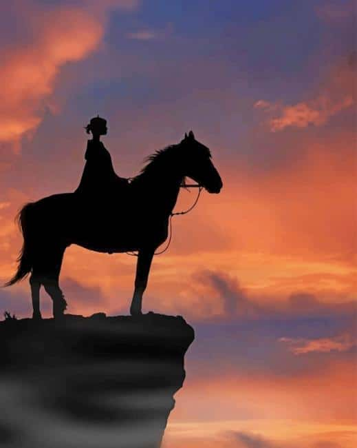 Woman Horse Silhouette paint by number