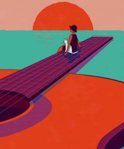 Woman Sitting On Guitar Bridge paint by numbers