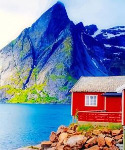 Wooden Barn in Norway paint by numbers