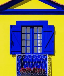Aesthetic Blue And Yellow House paint by numbers