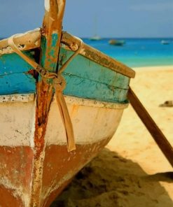 Aesthetic Boat In The Beach paint by numbers