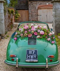 Aesthetic Classy Green Car And Flowers Paint by numbers