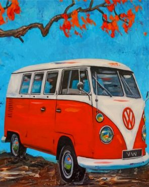 Aesthetic Red Volkswagen paint by numbers