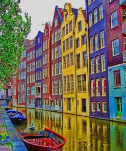 Amsterdam Colorful Houses paint by numbers