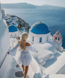 Blondy Girl In Santorini paint by numbers