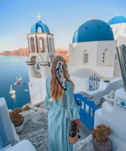 Blondy In santorini Greece paint by numbers