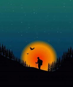 Brave Explorer Silhouette Paint By Numbers