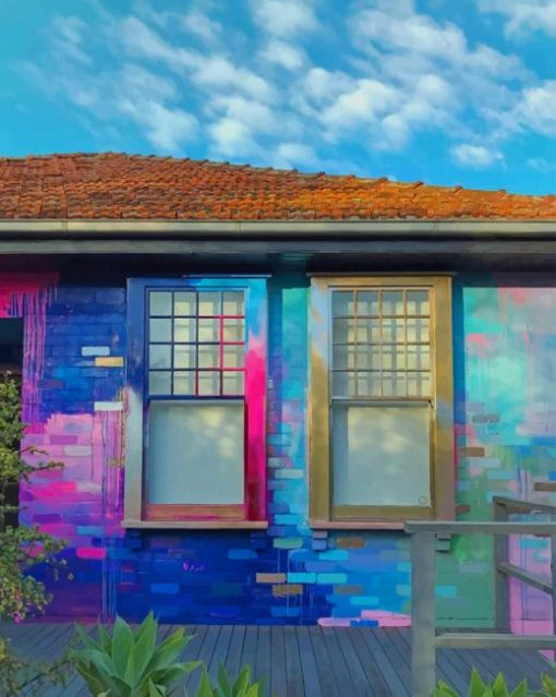 Colorful House paint by numbers