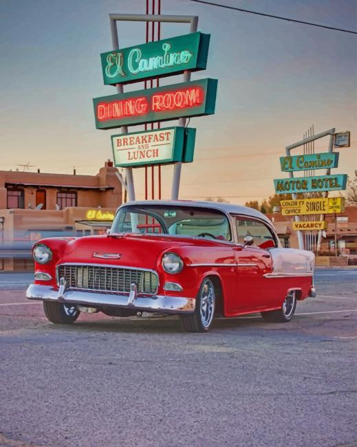 Cool Red Car paint by numbers