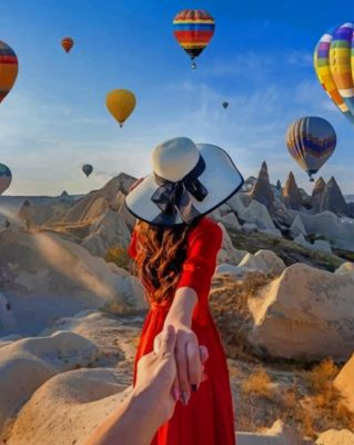 Couple Watching Colorful Flying Air Balloons Paint by numbers