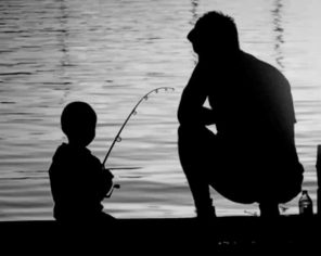 Dad Teaching His Son Fishing paint by numbers