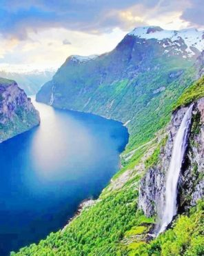 Geiranger Norway paint by numbers