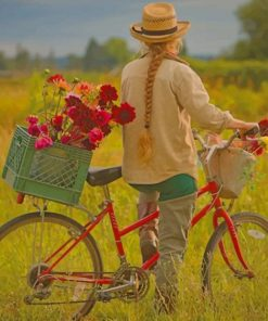 Girl Strolling A Farm With Her Bike paint by numbers