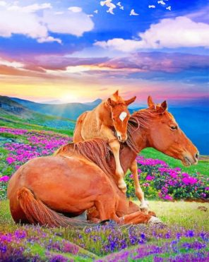 Horses In Nature paint by numbers