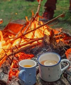 Hot Coffee And Camping paint by numbers