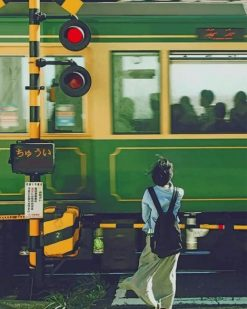 Japanese Woman Waiting For Train paint by numbers