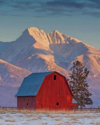 Montana Mountains And Barn paint by numbers