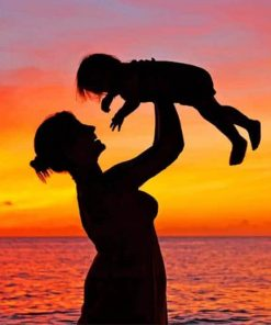 Mother And Child Silhouette paint by numbers