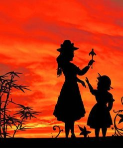 Mother Daughter Silhouette paint by numbers