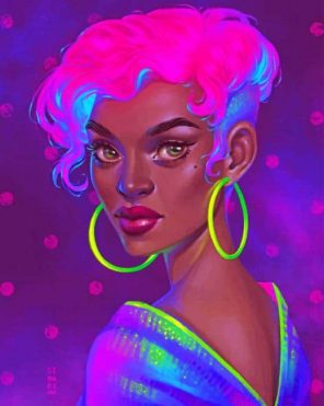 Neon Black Girl paint by numbers