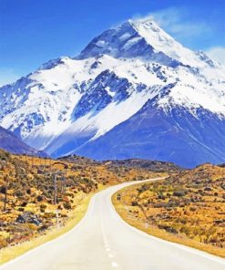 New Zealand Snow Mountain paint by numbers