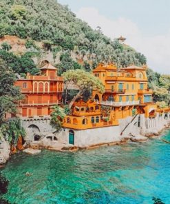 Portofino Harbour Castle Italy paint by numbers