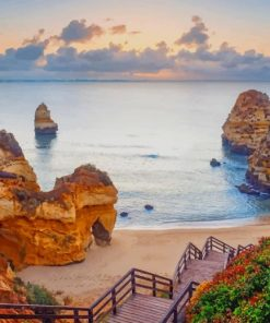 Praia Do Camilo Portugal paint by numbers