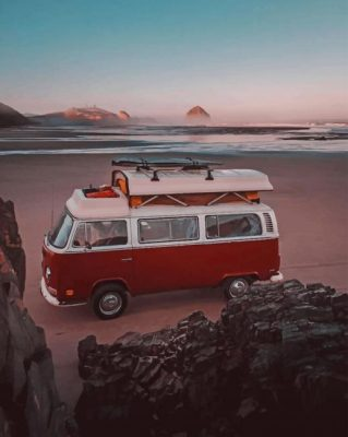 Red Campervan In The Beach Paint by numbers