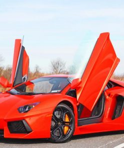 Red Lamborghini paint by numbers
