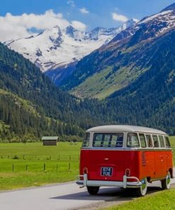 Red VW Bus In Beautiful Landscape paint by numbers