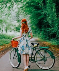 Redhead Girl Strolling With Her Bike Paint by numbers