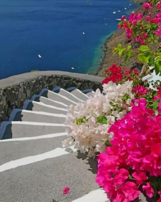 Santorini Greece Stairs Paint by numbers