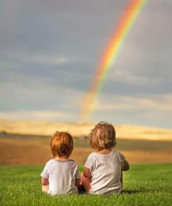 Two Babies Watching The Rainbow Paint by numbers