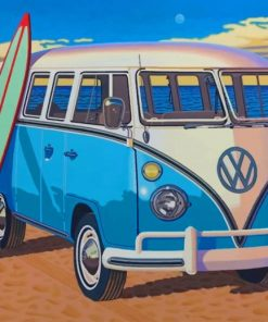 Volkswagen Bus With Surfboard paint by numbers
