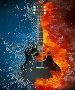Water Fire Guitar paint by numbers