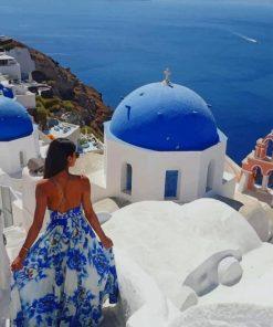 Woman Enjoying Santorini Paint by numbers