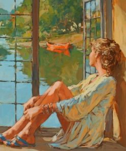Woman Looking Through The Window paint by numbers