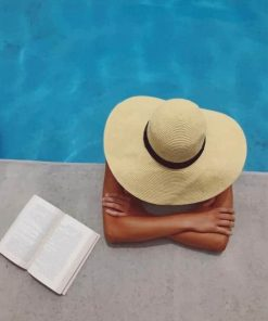 Woman Sitting In A Swimming pool in A Large Sunhat paint by numbers