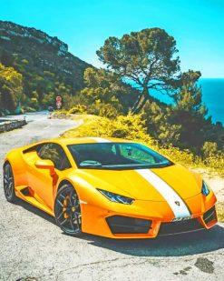 Yellow Lamborghini paint by numbers