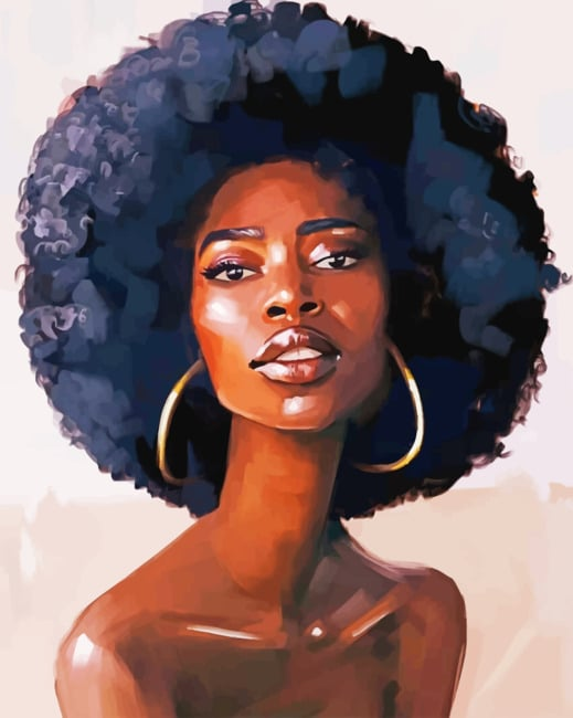 Afro Black Girl paint by numbers