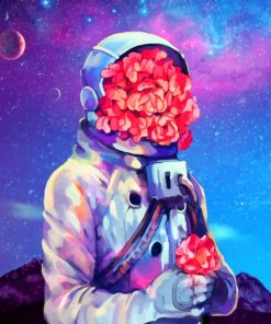 Astronaut Flowers paint by numbers