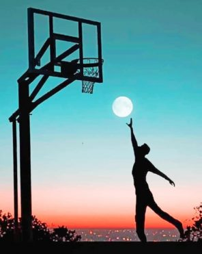 Basketball Moon Silhouette paint by numbers
