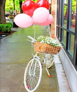 Bike With Flowers And Balloons paint by numbers
