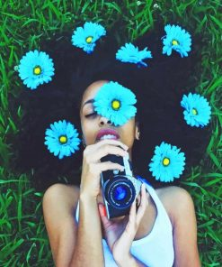 Blue Flowers On Girl Photography paint by numbers