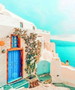 Blue And White House Santorini paint by numbers